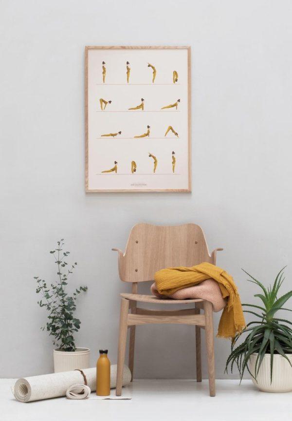Vissevasse Poster Yoga Sunsalutation skandinavisch Design