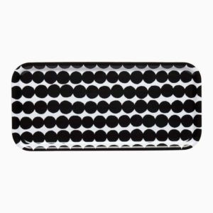 Marimekko Räsymatto Siirtolapuurtarha Tablett Punkt schwarz weiß