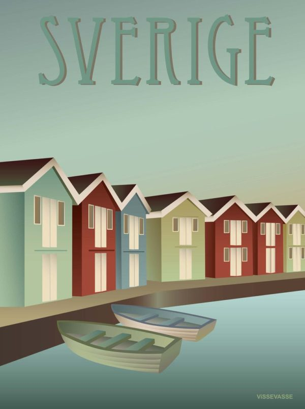 Vissevasse Poster Sverige Schweden Archipelago Schären Bootshaus